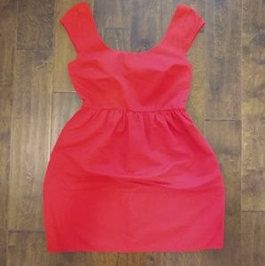 American Eagle 6 red cap sleeve dress bow pockets